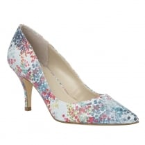 Lotus Buckwell Blue Digital Print Pointed-Toe Court Shoes