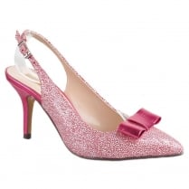 Glamour Pink Spotted Bow Poined Court Shoes
