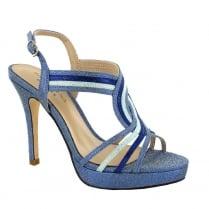 Menbur Bagdad Blue Glitter Evening Heels