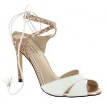 Menbur Canada2 White/Gold Snake Sandals High Heels - 007556