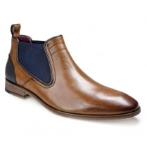 Pod Mens Odessa Cognac Leather Chelsea Ankle Boots