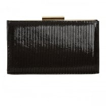 Van Dal Zinnia Black Chevron Print Clutch Handbags