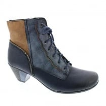 Rieker Womens Navy Eagle Lace up Heeled Ankle Boots