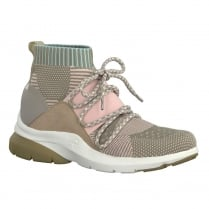 Tamaris Womens Nude Knitted Ankle Top Sneakers Shoes - 25202