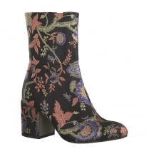 Tamaris Womens Black Embroidered Heeled Ankle Boots - 25024