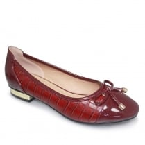 Lunar Palmer Womens Burgundy/Red Snake Effect Pump