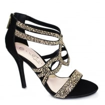 Lunar Arlene Black Bling Strappy Evening Heels