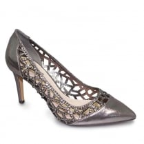 Lunar Caroline Pewter Pointed Evening Heels