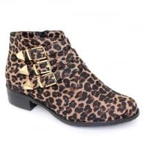 Lunar Oscar Ocelot Leopard Print Flat Fashion Ankle Boots