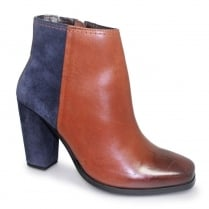 Lunar Zoella Tan/Navy Leather Ankle Boots