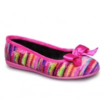 Lunar Womens Twizzle Knit Pink Slipper Pumps