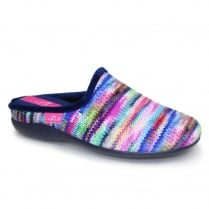 Lunar Womens Sherbet Striped Blue Slippers