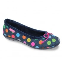 Lunar Womens Mix-Up Knit Blue Slipper Pumps