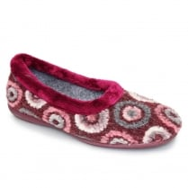 Lunar Womens Roundabout Burgundy Slipper Pumps