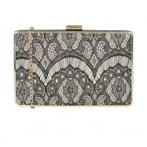 Lotus Zelma Black Lace-Gold Glitz Front Handbag