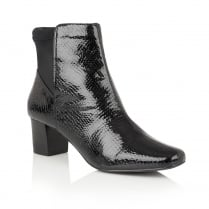 Lotus Swallow Black Animal Print Shiny Ankle Boots - 40303