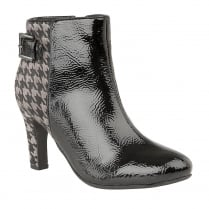Lotus Soni Black Crinkle Patent Ankle Boots