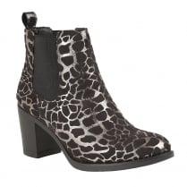 Lotus Ennis Black & Silver Print Heeled Ankle Boots