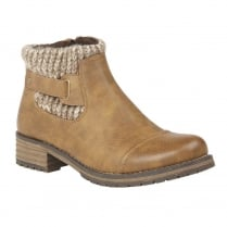 Lotus Ayla Tan Knitted Ankle Top Flat Boots