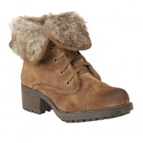 Lotus Bijou Tan Distressed Fur Collar Ankle Flat Boots