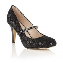 Lotus Fuzina Black Floral Print Mary-Jane Shoes