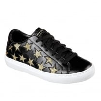 Skechers Womens Side Street Star Black/Gold Leather Sneakers 73535
