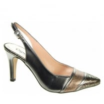 Capollini Roxanne Pewter Slingback Pointed Heels - Z123
