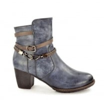 Hengst Ladies Comfort Blue Mid Heel Ankle Boots