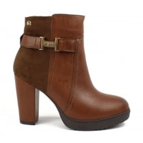 XTI Womens Camel Block Heeled Ankle Boots