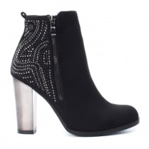 XTI Womens Black High Heeled Ankle Boots