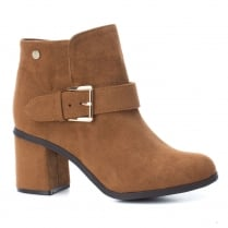 XTI Womens Camel Suede Block Heeled Ankle Boots