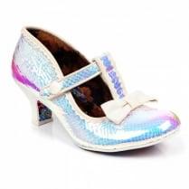 Irregular Choice Lazy River White Mid Heeled T-bar Velcro Shoe