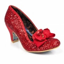 Irregular Choice Kanjanka Red Glitter Mid Heeled Shoe