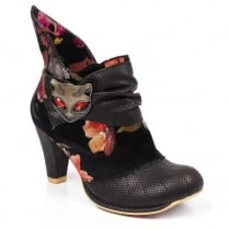 Irregular Choice Miaow Black Snakeskin Ankle Boots