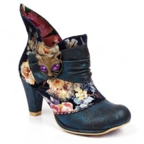Irregular Choice Miaow Blue Snakeskin Ankle Boots