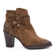 Alpe Brown Suede Fringe Detail Heeled Ankle Boot - 3452