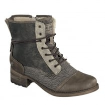 Mustang Womens Dark Brown Lace Up Ankle Boots
