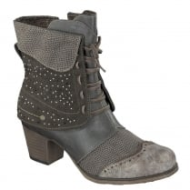 Mustang Brown Micro Studs & Stones Ankle Boots