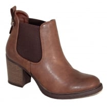Refresh Dark Camel Heeled Chelsea Ankle Boot