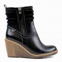 Refresh Black Wedge Heeled Ankle Boot