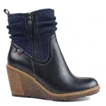 Refresh Navy Wedge Heeled Ankle Boot