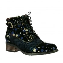 Laura Vita Alice Blue Lace Up Flat Ankle Boots