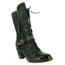 Laura Vita Womens Alizzee Navy Lace Up Mid Calf Boots