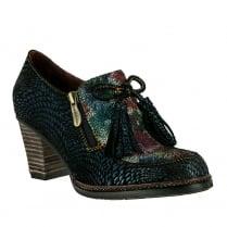 Laura Vita Womens Cathy Blue Suede Block Heel Shoe