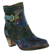 Laura Vita Womens Agathe Blue Leather Ankle Boots