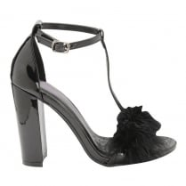 Dolcis Ladies Fluffy T-bar High Heeled Black Sandals