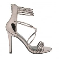Dolcis Ladies Iliana Silver Stiletto Ankle Strap Heeled Sandals