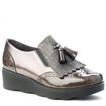 Pitillos Womens Pewter Fluttering Fringes Wedge Heeled Shoes