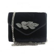 Menbur Algieba-Wei Black Suede Leaf Clutch Bag