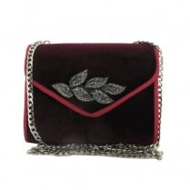 Menbur Burgundy Suede Leaf Clutch Bag